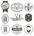 Set of vintage barber shop emblems label badges vector image