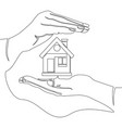single continuous line home protection concept vector image vector image
