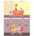 spa salon receptionist and manicurist set vector image vector image