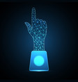 technology future point touch hand trophy cup vector image vector image