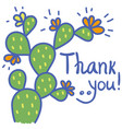 thanks card with cactus succulent and text color vector image vector image