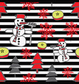 trendy christmas pattern with snowman vector image vector image