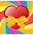 Valentine heart with bow on swirl background vector image vector image