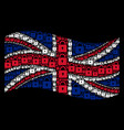 waving great britain flag pattern of lock icons vector image
