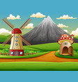 windmill building and the mushroom house with a mo vector image