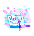 woman hold magnifier learn graphs at laptop screen vector image vector image