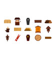 wood object icon set flat style vector image vector image