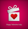 Gift box with heart symbol Valentines day concept vector image