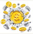 The gold dollar coin breaking through the concrete vector image