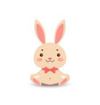 a cute cartoon bunny in a red bow tie is sitting vector image vector image