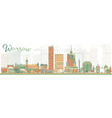 Abstract Warsaw skyline with color buildings vector image vector image