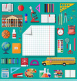 big school set school supplies stationery vector image vector image