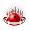 bowling sport emblem with red glossy ball bowling vector image vector image
