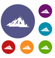 canadian mountains icons set vector image