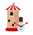 christmas snowman with castle tower character vector image vector image