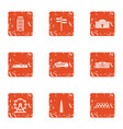 client service icons set grunge style vector image vector image