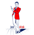 cocktail drink man vector image vector image