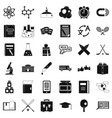 college student icons set simple style vector image vector image