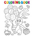 coloring book easter rabbit topic 2 vector image vector image