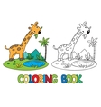 Coloring book of little funny giraffe vector image