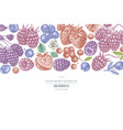 design with pastel colored strawberry blueberry vector image