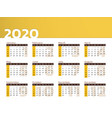desk calendar for year 2020 in yellow design vector image vector image