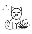 dog and marijuana leaf vector image
