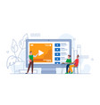 e-earning video tutorial online seminar or webinar vector image vector image