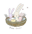 easter bunnies and chickens cute hare and chick vector image vector image