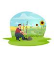 farmer or gardener planting tree in garden icon vector image