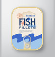 fish fillets aluminium container with label cover vector image