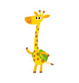 giraffe animal student character with backpack vector image vector image