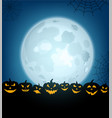 halloween background with pumpkins and moon vector image