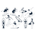 hand drawn surfers set men and women surfing vector image vector image