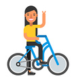 Happpy woman with bicycle Coloured flat isolated vector image