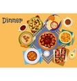 Healthy lunch menu icon with salad and soup vector image vector image