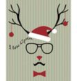 hipster santa deer vector image vector image