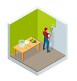 isometric roller brush painting worker painting vector image