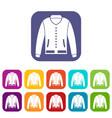 jacket icons set flat vector image