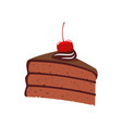 layered chocolate cake with cherry isolated bakery vector image