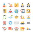 logistic delivery flat icons set vector image vector image