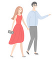 male and female in love guy and lady walking vector image vector image