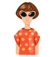 modern woman with short hair cartoon vector image
