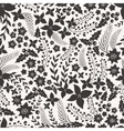 Monocrome seamless pattern with flowers vector image vector image