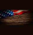 old american flag on wooden background vector image vector image