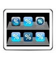 Percent blue app icons vector image