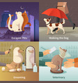 pet shop concept icons set vector image vector image