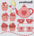 pinky tea set vector image