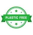 plastic free green sign with ribbon eco friendly vector image vector image