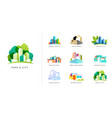 real estate logo building development set vector image